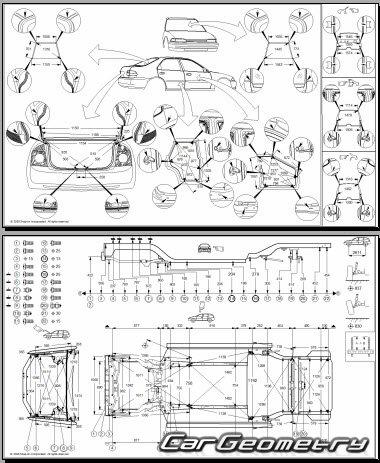 Кузовные размеры Kia Cerato (Spectra) 2004–2009 кузова (LD
