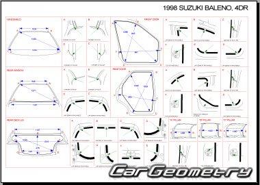 Кузовные размеры Suzuki Baleno 1995–2002 (Sedan, Hatchback)
