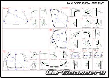 Геометрические размеры кузова Форд Куга 2008-2013 Body