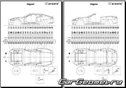 Геометрические размеры кузова Jaguar XK (X150) 2006–2013