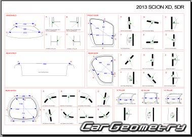 Кузовные размеры Scion xD (ZSP110) 2008-2014 Collision
