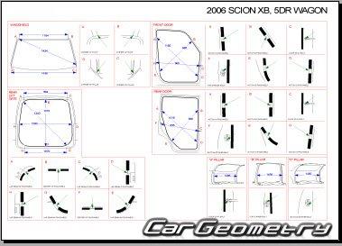 Кузовные размеры Scion xB (NCP31) 2004-2007 Collision