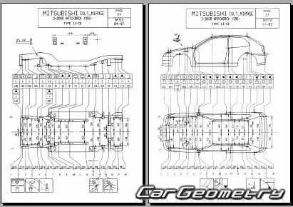 кузовные размеры Mitsubishi Colt 1996–2002 Body Repair Manual