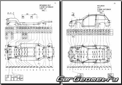 Кузовные размеры Mitsubishi Colt 1992–1996 Body Repair Manual