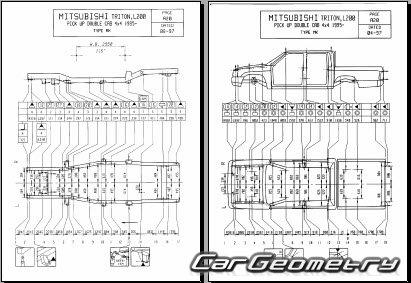 Кузовные размеры Mitsubishi L200 1996–2006 Repair Manual