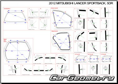 Контрольные размеры кузова Mitsubishi Lancer X Sportback