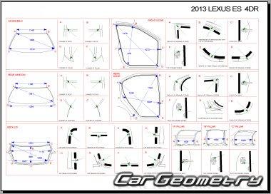 Кузовные размеры Lexus ES200, ES250, ES350 с 2012 (GSV60