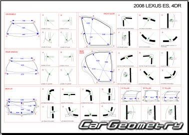 Кузовные размеры Lexus ES350, ES240 2006-2009 (ACV40