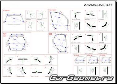 Кузовные размеры Mazda 2 (Mazda Demio) 2008-2014 (5DR