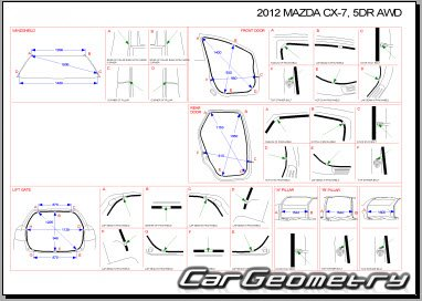Размеры кузова Mazda CX-7 2007–2013