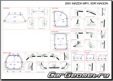 Размеры кузова Мазда МПВ 1999–2002