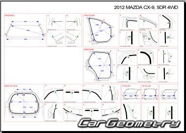 Кузовные размеры Mazda CX-9 2007-2014 Bodyshop Manual