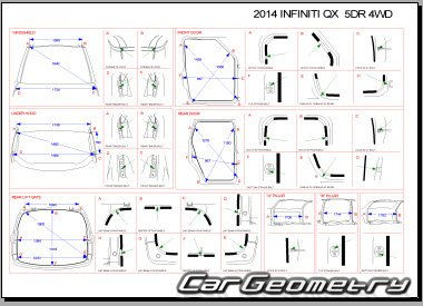 Кузовные размеры Infiniti QX80 (Z62) 2013-2017 Body Repair