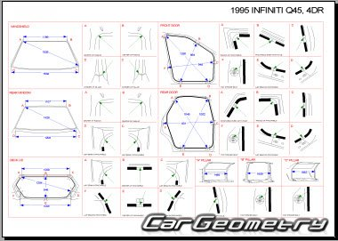 Контрольные размеры кузова Infiniti Q45 1989–1996 и Nissan