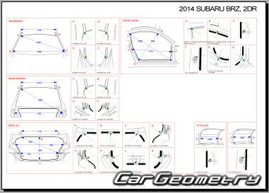 Кузовные размеры Subaru BRZ Body Repair Manual