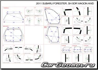 Кузовные размеры Subaru Forester (SH) 2008-2012 Body