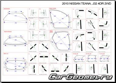 Кузовные размеры Nissan Teana (J32) 2008–2012 Body Repair