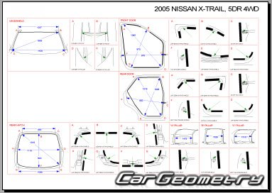 Размеры кузова Nissan X-Trail (T30) 2001–2007 Body Repair