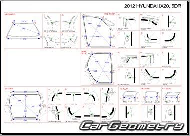 Геометрические размеры кузова Hyundai ix20 (JC) 2010-2017