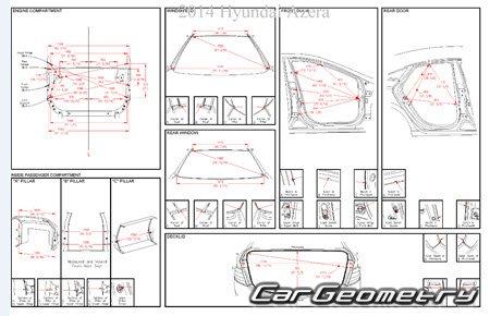 Кузовные размеры Hyundai Grandeur (HG) с 2012 Body Repair