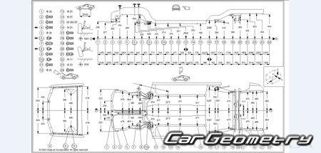 Размеры кузова Hyundai Elantra (RD) 1996-2000 (Sedan, Wagon)