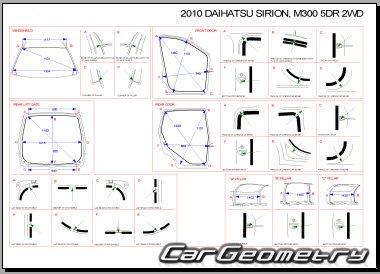 Размеры кузова Daihatsu Sirion (Subaru Justy) 2005–2010