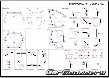 Кузовные размеры Honda Fit с 2013 Body dimensions