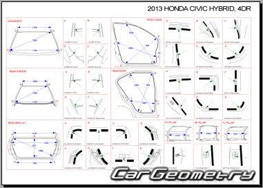 Контрольные размеры кузова Honda Civic Hybrid (FB) 2012