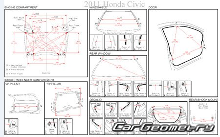Геометрические размеры Honda Civic 2006-2011 (Sedan, Coupe