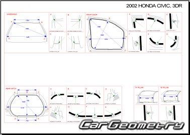Размеры кузова Honda Civic 2002-2005 (Hatchback) Body