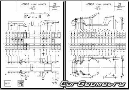 Размеры кузова Honda S2000 2000-2009 Body Repair Manual