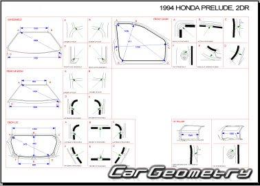 Контрольные размеры кузова Honda Prelude 1992-1996 Body