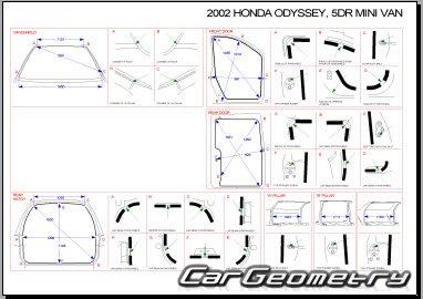 Кузовные размеры Honda Odyssey (RL1) 1999-2004 USA Body