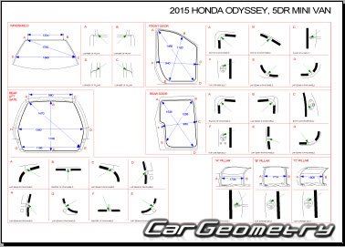 Геометрические размеры кузова Honda Odyssey (RL5) 2011