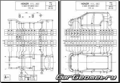 Кузовные размеры Honda Fit (Honda Jazz) 2002-2008 Body