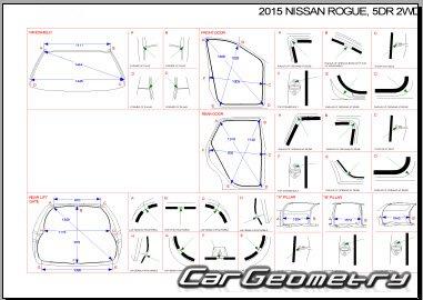 Кузовные размеры Nissan Rogue (T32) 2014-2020 Body Repair