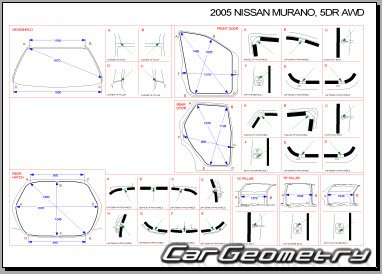 Размеры кузова Nissan Murano (Z50) 2003–2008 Body Repair