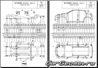 Размеры кузова Nissan Qashqai (J10) 2007-2013 Body Repair