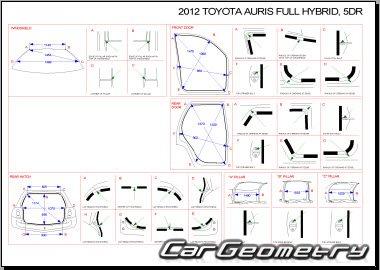 Размеры кузова Toyota Auris Hybrid 2010-2012 (NRE150