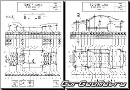 Размеры кузова Toyota Avensis (Corona FWD) 1997-2002