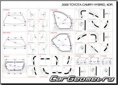 Контрольные размеры кузова Toyota Camry Hybrid 2006–2009