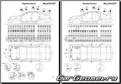 Кузовные размеры Toyota Corolla 1993-1996 (AE101, AE102)