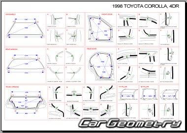 Геометрические размеры кузова Toyota Corolla 1997-2001