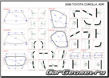 Кузовные размеры Toyota Corolla ZZE130 USA 2003-2008