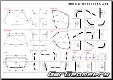 Размеры кузова Toyota Corolla 2009-2013 (модели AZE141