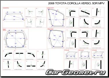 Размеры кузова Toyota Corolla Verso 2004–2009 кузова