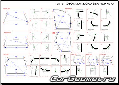 Размеры кузова Toyota Land Cruiser 200 2008–2015 Collision