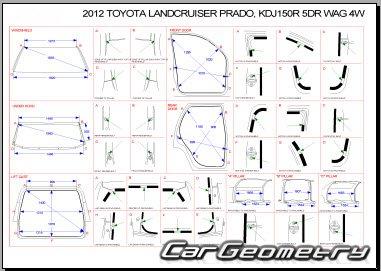 Контрольные размеры кузова Toyota Land Cruiser PRADO 2009