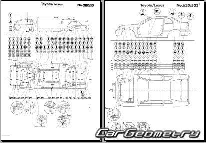 Размеры кузова Toyota Tercel (EL40, EL42) 1992-1994 Sedan