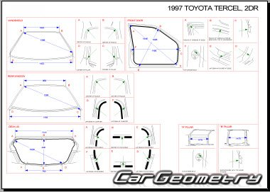 Кузовные размеры Toyota Tercel (EL50, EL53) 1995-1998